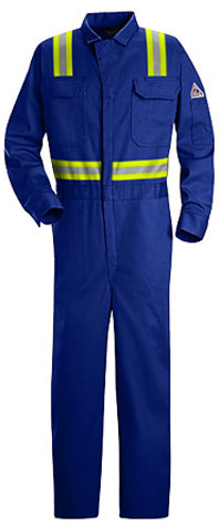 Bulwark Flame Resistant Deluxe Contractor Coverall With Reflective Trim