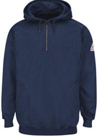 Bulwark Flame Resistant Pullover Hooded Fleece Sweatshirt with 1/4 Zip